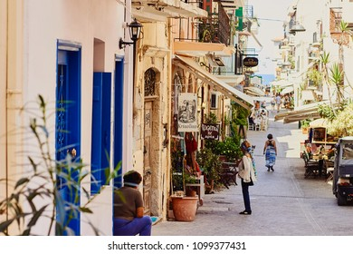 Chania, Crete / Greece - September 10 2017: View of the ancient street and street life in the old town