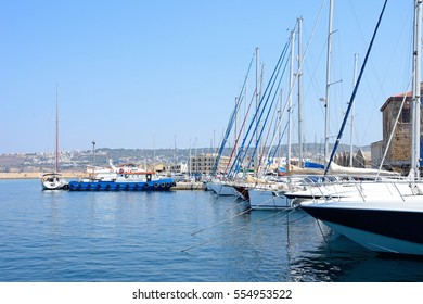 CHANIA, CRETE - SEPTEMBER 16, 2016 - Yachts moored in the marina, Chania, Crete, Greece, Europe, September 16, 2016.