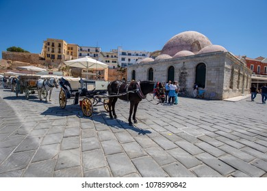 Chania, Crete/Greece - April 27th 2018: View of the Yiali Mosque at the port of Chania city