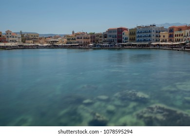 Chania, Crete/Greece - April 27th 2018: View of the Chania old Port with the colorful buildings