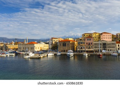 Chania, Greece - April 13, 2017: Old Venetian harbor of Chania town on Crete island, Greece.