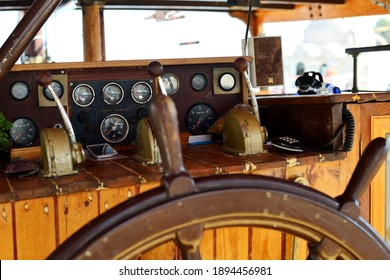 Chania, Greece - August 12: Vintage Boats navigation panel at Chania, Greece on August 12, 2014.