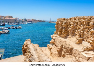 Chania harbor from old walls. Crete, Greece, Europe
