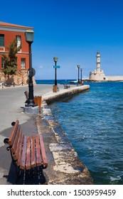 Chania harbor on Crete Island, Greece