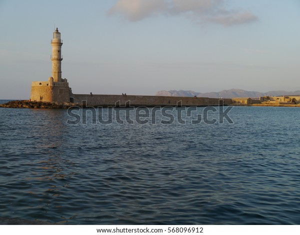 Chania / Chania harbour / picture showing the harbour with lighthouse in Chania, Crete. Taken in August 2013.