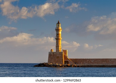 Chania. Lighthouse in the old harbor.