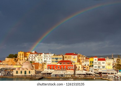 Chania. Rainbow over the old harbor.