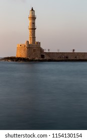Chania/Crete - August 10th 2018: view of the Chania Lighthouse