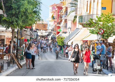 CHANIA,CRETE-AUGUST 08: Chalidon shopping street with local restaurants and traditional shops, people go shopping on August 08,2017 in Chania city on Crete island, Greece.
