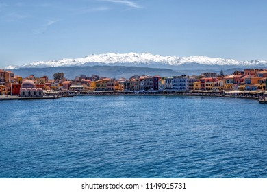 Chania/Greece - April 11th 2015 : View of the Old Harbor of Chania City Crete