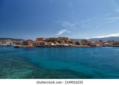 Chania/Greece: April 11th 2015: view of the Chania Harbor - Crete Greece
