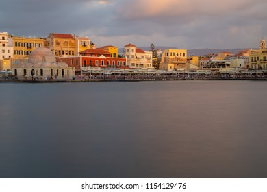 Chania/Greece - August  10th 2010 : View of the Old Harbor of Chania City Crete