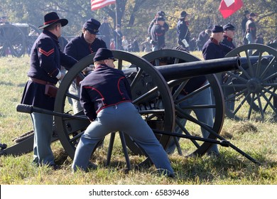 CHANNAHON, IL - OCTOBER 17: Soldiers loading and discharging cannons in the Civil War Days Reenactment on October 17, 2010 in Channahon, IL