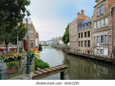 Channel in center of Ghent, Belgium in evening