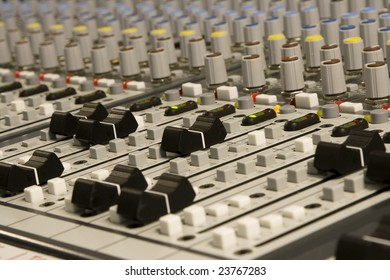 Channel faders from a mixing desk