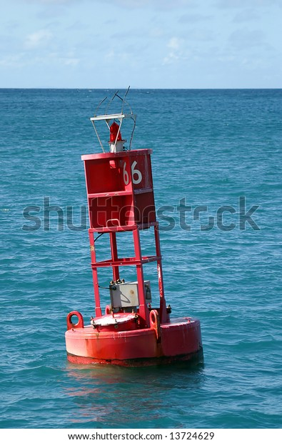 A channel marker guides sailers safely into port near St Thomas, US Virgin Islands.