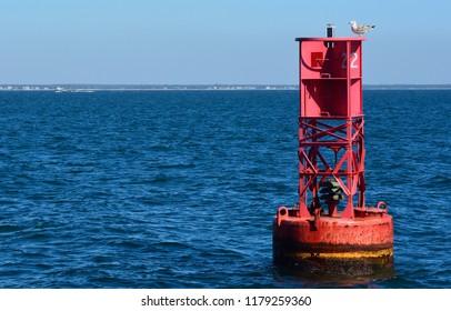 Channel marker in the Vineyard Sound, Martha's Vineyard, Massachusetts.