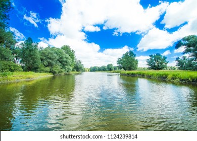 Channel in nature park Kopacki rit in Slavonia, Croatia, popular tourist destination and birds reservation
