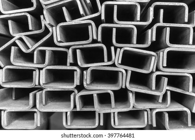 Channel steel background. (black and white)