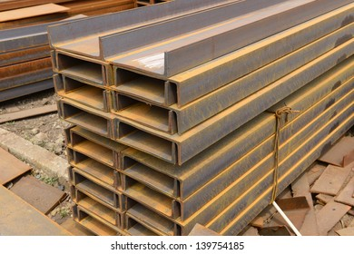 Channel steel of stacked together