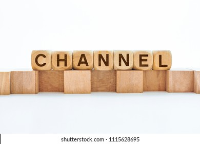 Channel word on wooden cubes