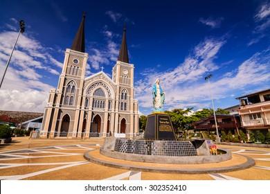 CHANTABURI, THAILAND - 29 july 2015 : Old catholic church of Maephra Patisonti Niramon located in Chantaburi province, Thailand. This is an iconic of Chantaburi built French Style