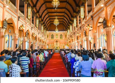 Chantaburi, Thailand - January 1, 2016: Pastor group doing religion ceremony  while Chistian people standing to attend religion ceremony in occasion of new year in church in Chantaburi, Thailand