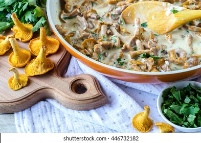 The chanterelle mushrooms. Braised mushroom in white sauce. Cooking. Spices, butter, parsley.A wooden spoon. Raw mushrooms.