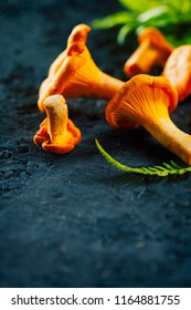 Chanterelle mushrooms, Raw wild chanterelles mushroom on dark rustic stone background. Organic Fresh chanterelle on a table. Soft focus, vertical photo