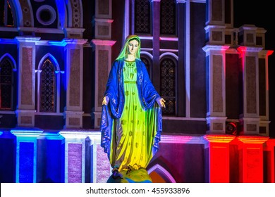 CHANTHABURI - December 24, 2016: The Blessed Virgin Mary, the mother of Jesus, in front of the Catholic Church on Chanthanimit Road on the river bank in Chanthanimit, Mueang, Chanthaburi, Thailand