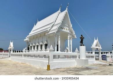 CHANTHABURI - FEBRUARY 27, 2021: Beautiful of White church in Wat Khao Laem Sing at Chanthaburi, Thailand on February 27, 2021.