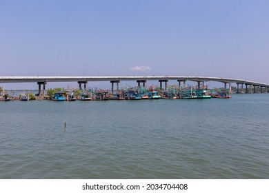 CHANTHABURI - FEBRUARY 27, 2021: View of fishing Boats at the port in Laem Sing Distric at Chanthaburi on February 27, 2021.