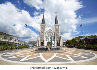 CHANTHABURI - November 15, 2016: The Catholic Church on Chanthanimit Road on the river bank in Chanthanimit, Mueang, Chanthaburi, Thailand