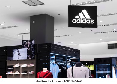 CHANTHABURI, Thailand - August 14, 2019: The Adidas store and logo in Chanthaburi city. Adidas is a German company manufacturer famous in sport shoe and sportswear.