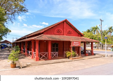 Chanthaburi, Thailand - December 30, 2017: Tuek Daeng (Red House), historic building used to be French military headquarter during colonial era.