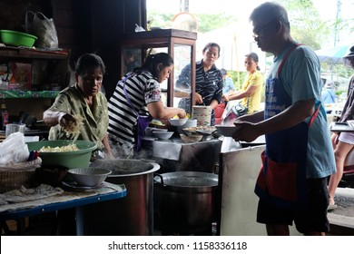 CHANTHABURI, THAILAND - JULY 29, 2018: An unidentified people working in Thai noodle kitchen in Chanthaboon old town in Chanthaburi, Thailand.