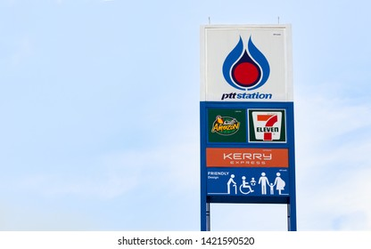 Chanthaburi, Thailand - MAY 24 2019: PTT Gas station tower with Amazon cafe ,Seven Eleven , Kerry Express ,Friendly Design Signs .The Biggest and Most popular fuel brand in Thailand. - Image