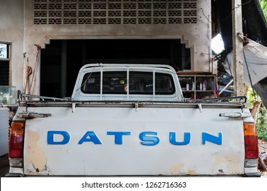 CHANTHABURI,THAILAND-December-20,2018 : Datsun logo on old pick up truck. Vintage classic car.