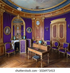 Chantilly, France - 12 July 2017 : Interior view of the Chantilly castle (Château de Chantilly ). historic chateau located in Oise, Picardie, France