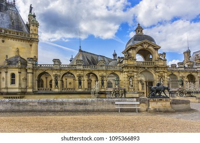 CHANTILLY, FRANCE - MAY 9, 2014: Architectural fragments of famous Chateau de Chantilly (Chantilly Castle, 1560) - a historic chateau located in town of Chantilly, Oise, Picardie, France.