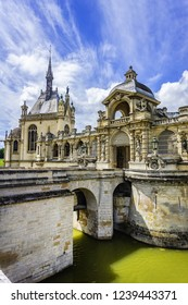 CHANTILLY, FRANCE - MAY 9, 2014: Famous Chateau de Chantilly (Chantilly Castle, 1560) - a historic chateau located in town of Chantilly, Oise, Picardie. Chateau architectural fragments.