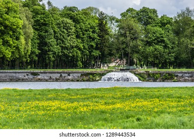 CHANTILLY, FRANCE - MAY 9, 2014: Chateau de Chantilly (1560) - historic chateau located in Chantilly town. 115 acres of beautiful park with sculptures, vases and ponds in famous Chateau de Chantilly.