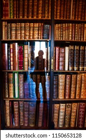 CHANTILLY, FRANCE - OCTOBER 31, 2016: Woman making selfie photo at library of Conde museum in Chantilly castle. Located about 50 kilometers from Paris it is popular tourist attraction.