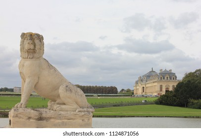 CHANTILLY, OISE / FRANCE - AUGUST 30 2014:  Sculptures in the Chateau de Chantilly landscape park