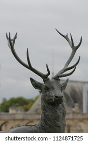 CHANTILLY, OISE / FRANCE - AUGUST 30 2014:  Deer sculpture in the Chateau de Chantilly landscape park