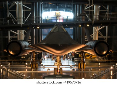 Chantilly VA - May 9, 2016: SR-71 / SR-71A Blackbird at the Udvar Hazy Museum. Developed by the Lockheed Skunk Works this spy plane operated during the Cold War,  it would cruise at Mach 3+.