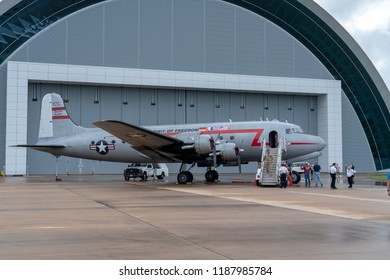 Chantilly, VA, USA - September 18th, 2018: Exterior of Douglas C-54 (C-54E R-5D) The Spirit Of Freedom was a part of the Berlin Airlift. It delivered goods from the US to Germany. The C-54 was at the