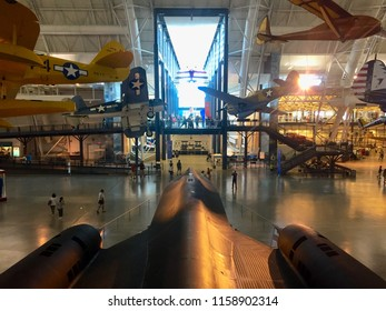 "Chantilly, Virginia, USA - August 15, 2018: The SR-71 ""Blackbird"" is a popular exhibit and a centerpiece of the Steven F. Udvar-Hazy Center, an annex of the Smithsonian Air and Space Museum."