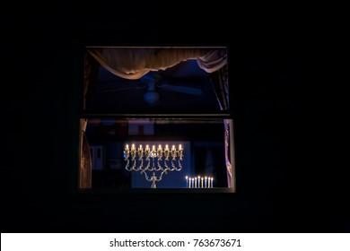 Chanukah Menorah in the window