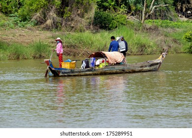 CHAO DOC, VIETNAM - DECEMBER 29: Boat on the bank of Mekong river on December 29, 2013 in Chao Doc, Vietnam.